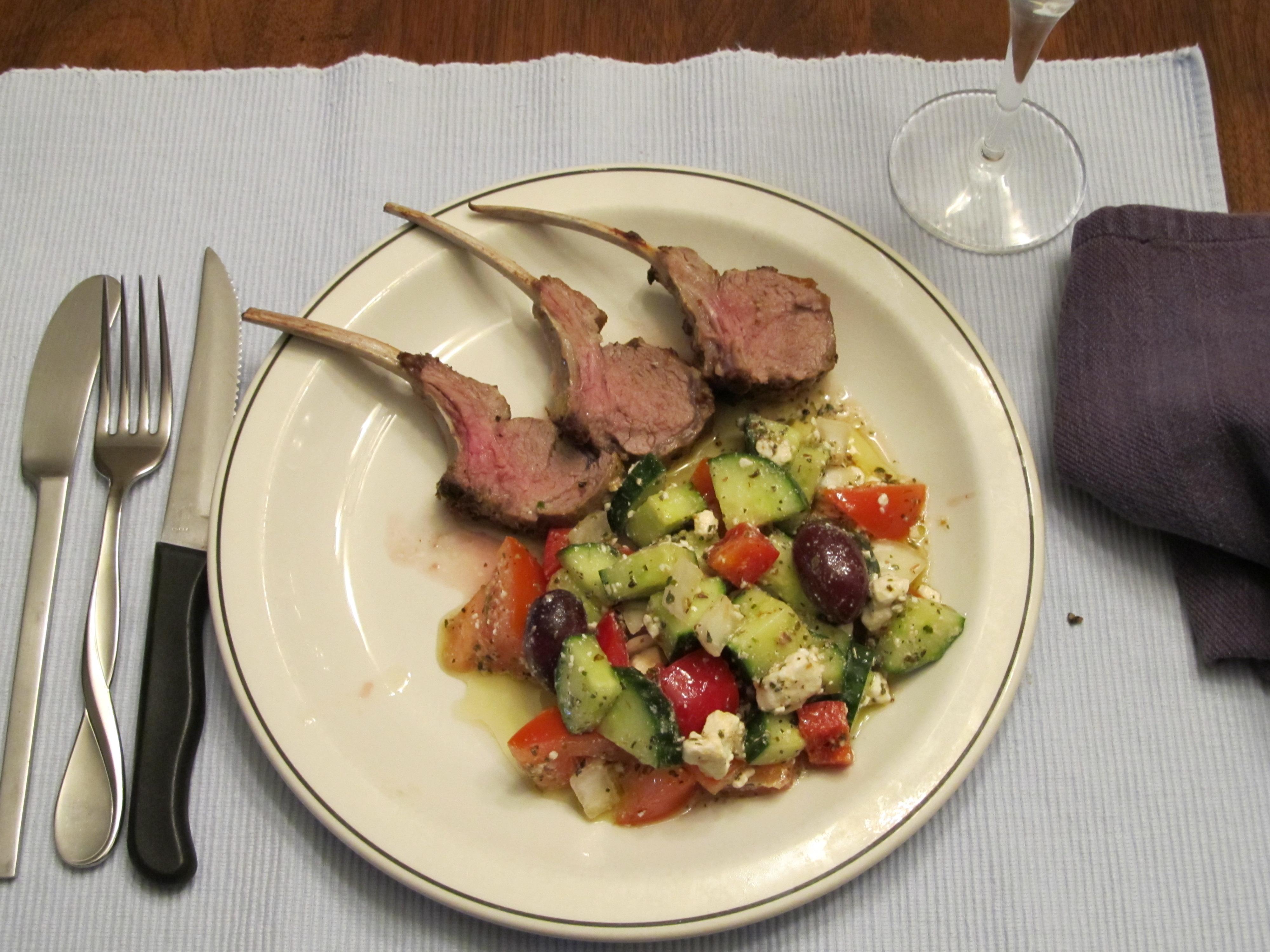Pommery Mustard Rub Welsh Spring Lamb Chops/ Sheep Feta Mediterain Salad.