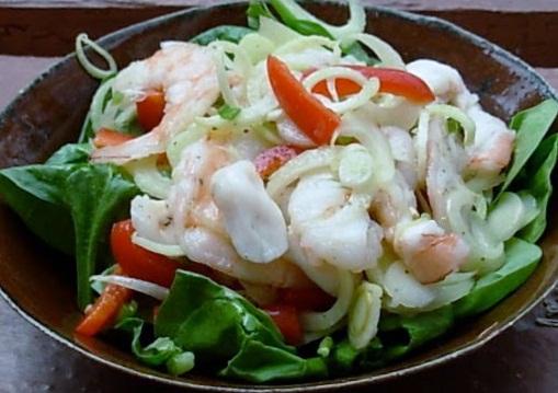 Spinach and Sea Food Salad w/ Vodka Lemon Cream Dressing.