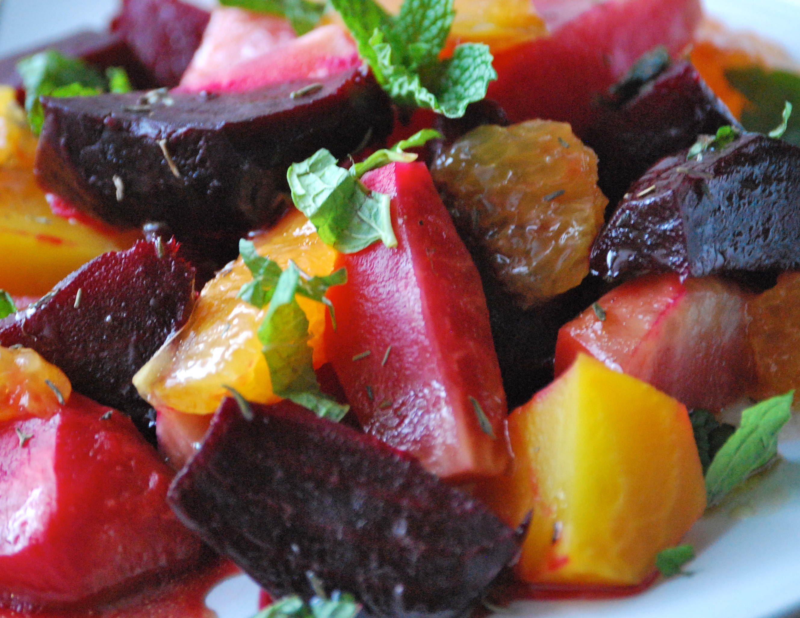 Roasted Heirloom Beet Salad with Zesty Raspberry Orange Dressing.