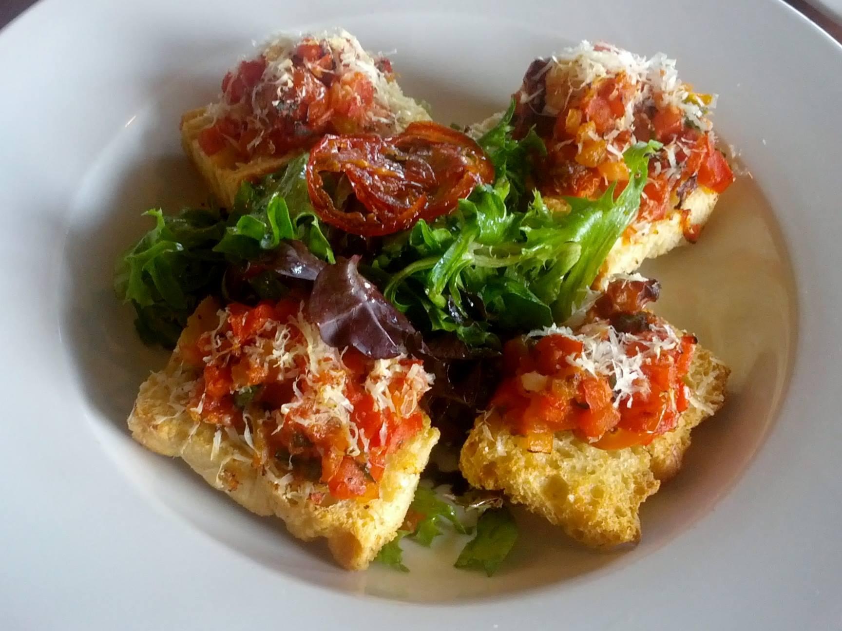 Roasted Tomato Bruschetta Crostini Toasts