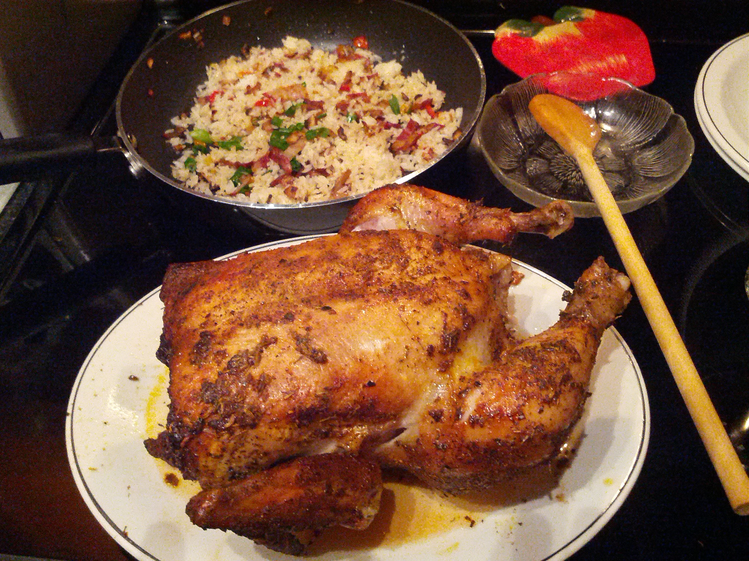 Roasted Lemon Chicken with Dirty Rice.