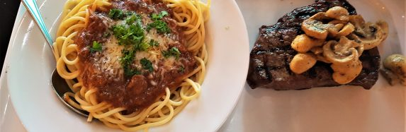 New York Strip Steak and Saucey Pasta